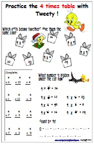 free worksheet 4 times table