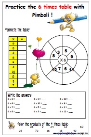 example printable worksheet 6 times table
